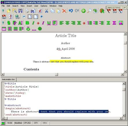 BaKoMa TexWord Simultaneous Source and Preview editing